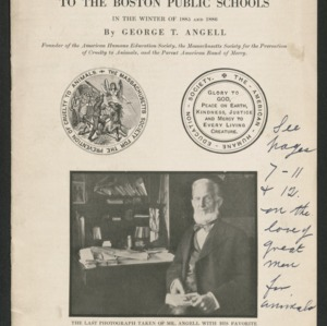 Address to the Boston Public Schools in the winter of 1885 and 1886