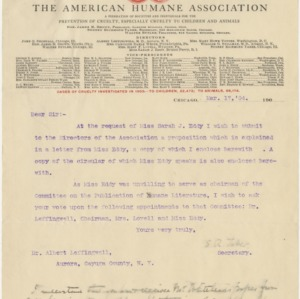 Correspondence from The American Humane Association, March 17, 1904
