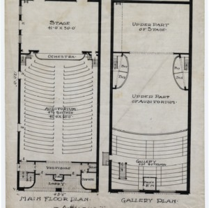 Athens Theater -- Main floor plan, gallery plan