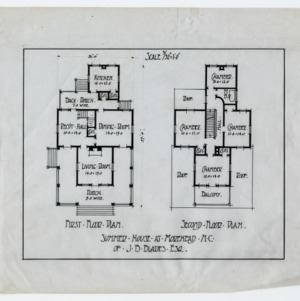James B. Blades Summer House -- First floor plan, second floor plan