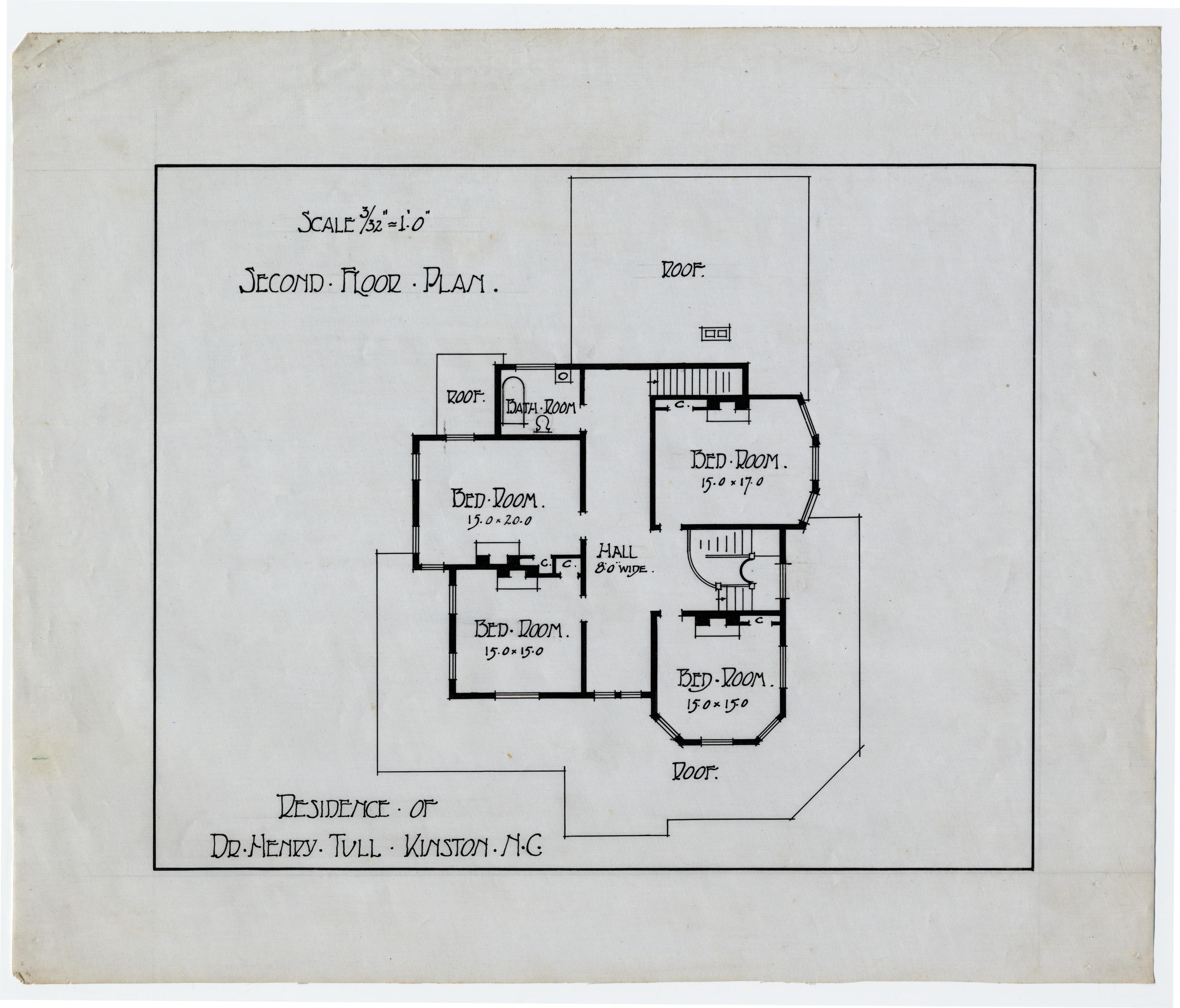 Second Floor Plan Henry Tull House Kinston N C