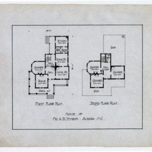 A. B. Styron House -- First floor plan, second floor plan