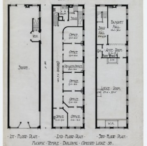First floor plan, second floor plan, third floor plan