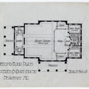Carteret County Courthouse -- Second floor plan