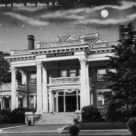 Exterior front, from postcard, J.B. Blades House (Hotel Queen Anne)