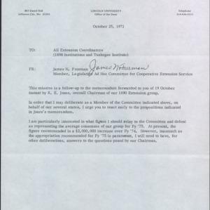 Correspondence of James N. Freeman with Extension Coordinators