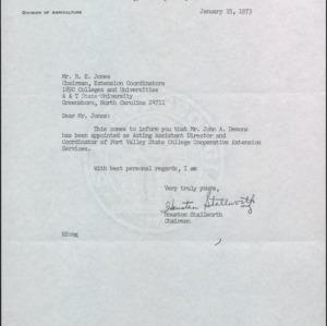 Correspondence between Houston Stallworth and R. E. Jones