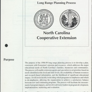 1996-1999 Long Range Planning Process North Carolina Cooperative Extension