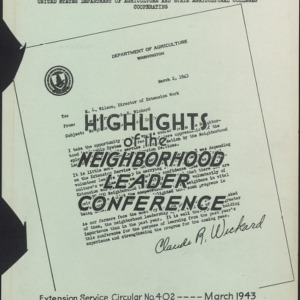 Highlights of the Neighborhood Leader Conference (US Extension Service Circular No. 402)