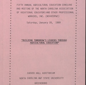 Fifth Annual Agricultural Education Conclave and Meeting of the North Carolina Association of Vocational Educators and other Professional Workers, Inc.