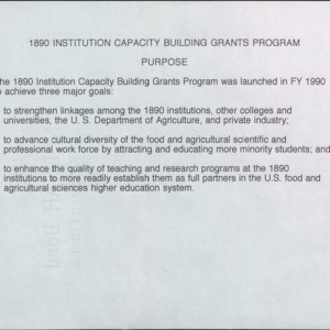 1890 Institution Capacity Building Grants Program Purpose