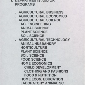 A&T's School of Agriculture Departments and/or Programs