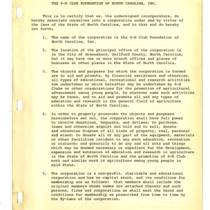 1951-1955 Minutes of Certification of 4-H Club Foundation of North Carolina, Inc