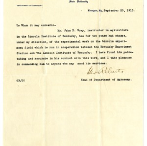 Letters of Recommendation regarding employment for John D. Wray