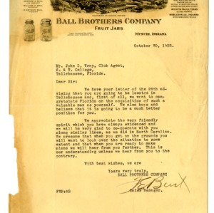 Letter from Ball Brothers Company, The Southern Insurance Company and Sears, Roebuck and Company,Chicago