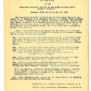 Minutes of North Carolina Negro Farmers' Congress Executive Committee Meeting and Annual meeting.  Call for Letter Help from the members of Y.M.C.A. of A. & M. College.