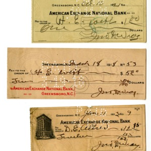 Checks written from American Exchange National Bank. Loan and premium paperwork from Metropolitan Life Insurance Company. Two envelops, one addressed to John D. Wray from Metropolitan Life Insurance Company and other with W.T. Grant & Company jewelry.