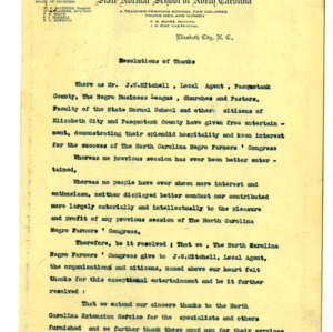 Resolution of Thanks to the State Normal School; Financial statements for N.C. Negro Farmer's Congress; Large envelop of USDA; Coop. Extension announcement for the N.C. Negro Farmers' Congress; Minutes of of N.C. Negro Farmers' Congress