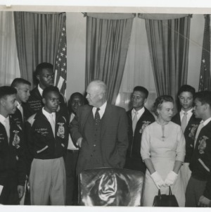 A Photograph of NFA Student Officers with President Eisenhower and the First Lady