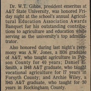 Agricultural Association Cites A&T's W.T. Gibbs