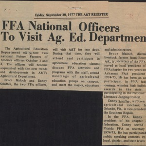 FFA National Officers to Visit Ag. Ed. Department