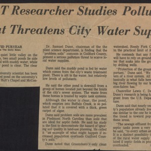 A&T Researcher Studies Pollution That Threatens City Water Supply