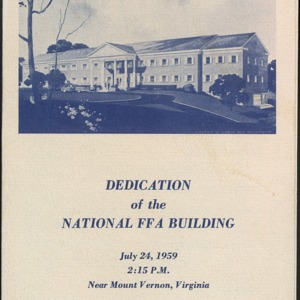 Dedication of the National FFA Building
