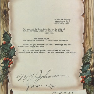 Christmas Letter from the State Staff Deparment of Vocational Agricultural Education