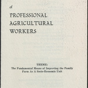 The Seventeenth Annual Conference of Professional Agricultural Workers