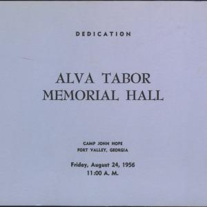 Dedication Alva Tabor Memorial Hall