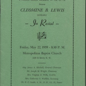 Cleomine B. Lewis in Recital