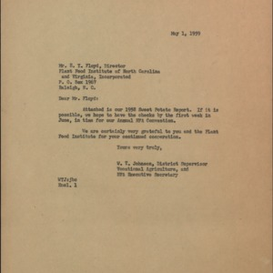 Letter from W.T. Johnson to E.T. Floyd Regarding 1958 Sweet Potato Report