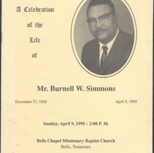 A Celebration of the Life of Mr. Burnell W. Simmons