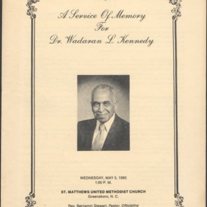 A Service of Memory for Dr. Wadaran L. Kennedy