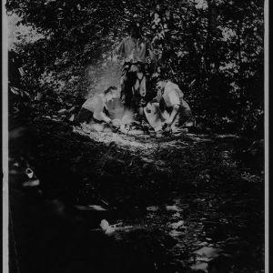Dr. Carl Schenck, Adele Schenck, and Elsbeth Schenck in forest