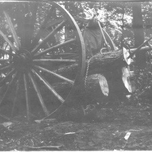 Adele Schenck with high wheeled logging cart