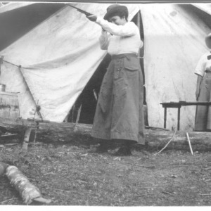 Adele Schenck and another woman in front of tent