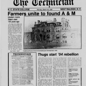 Technician, NCSU Centennial Edition, March 16, 1987