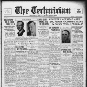 Technician, Vol. 14 No. 4, October 13, 1933