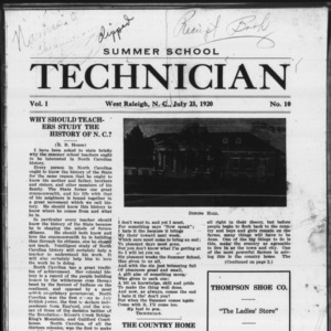 Technician, Vol. 1 No. 10, July 23, 1920