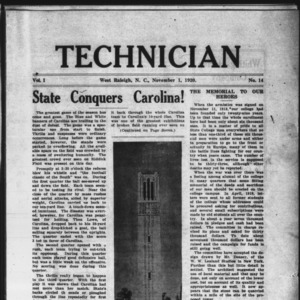 Technician, Vol. 1 No. 14, November 1, 1920