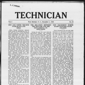 Technician, Vol. 1 No. 16, December 1, 1920
