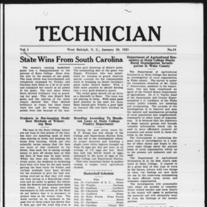 Technician, Vol. 1 No. 18, January 20, 1921