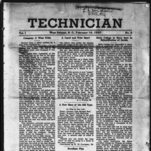 Technician, Vol. 1 No. 2, February 16, 1920