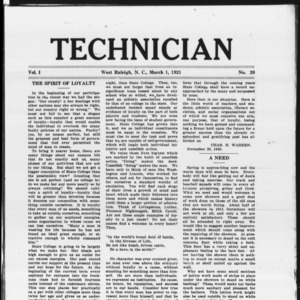 Technician, Vol. 1 No. 20, March 1, 1921