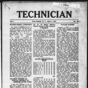 Technician, Vol. 1 No. 21, April 1, 1921