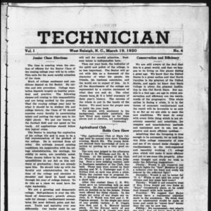 Technician, Vol. 1 No. 4, March 19, 1920