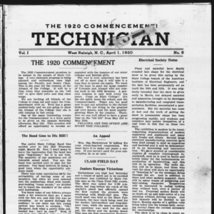 Technician, Vol. 1 No. 5, April 1, 1920