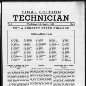 Technician, Vol. 1 No. 8, May 21, 1920