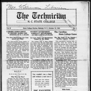 Technician, Vol. 2 No. 1, October 15, 1921